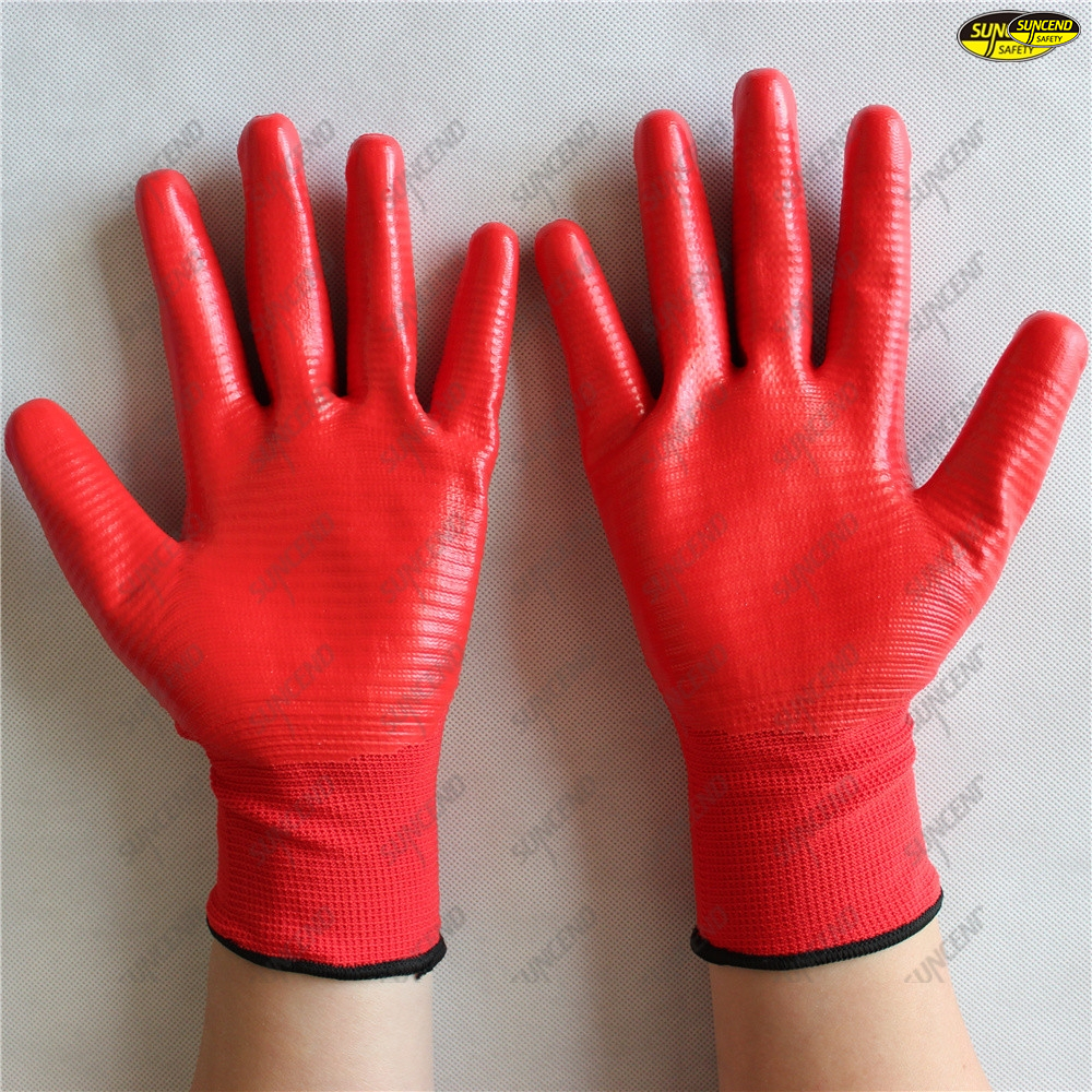 Flexible breathable polyester liner nitrile coated gloves