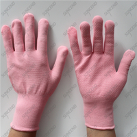 15 gauge pink nylon liner single palm PVC dotted women work gloves