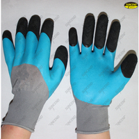 Finger double dipped foam latex coated safety gloves