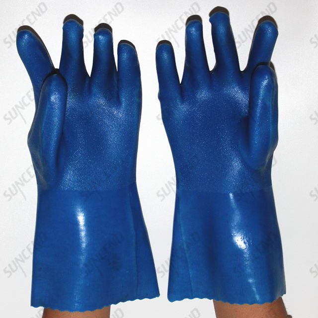 Customize Double PVC Dipped Acid Gloves Anti Oil Extra Long