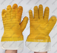 Jersey cotton safety cuff anti slip yellow big crinkle latex gristle gloves
