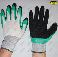 Double latex palm coated crinkle safety working gloves
