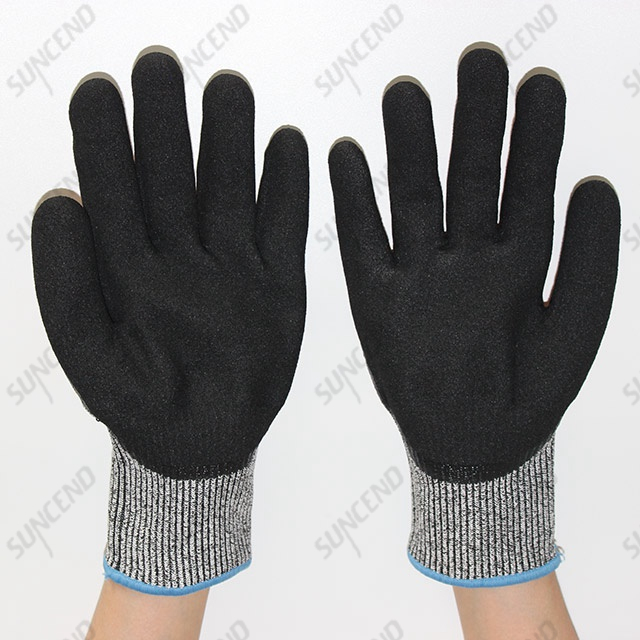Sandy Nitrile Palm Coated HPPE Liner Anti-vibration And Anti-cut Gloves