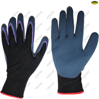 Grey nylon polyester sandy nitrile coated gloves