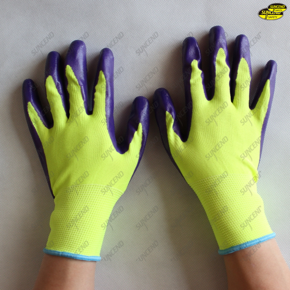 Smooth palm nitrile coated safety work polyester gloves