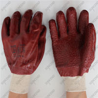 Knitted wrist jersey cotton liner full coating rough coffee PVC gloves