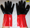 Long sleeve PVC double dipped hand protective work gloves with granule