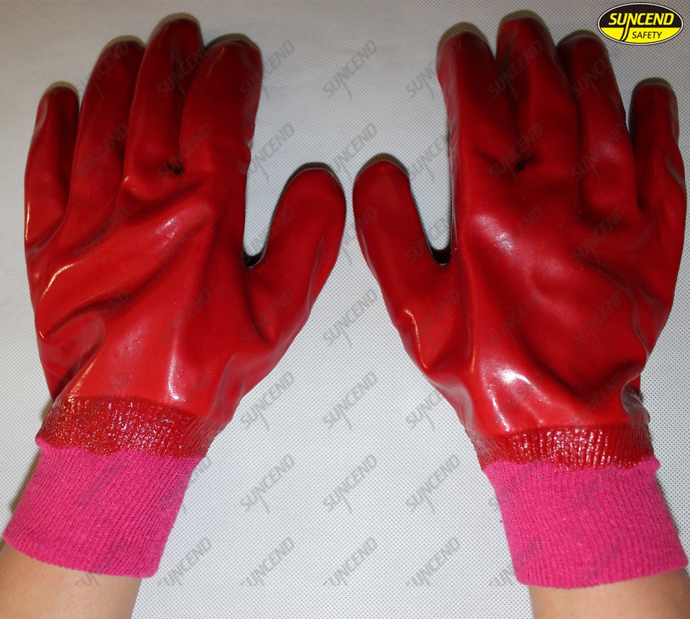 Factory price red pvc coated working gloves