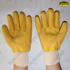 Yellow latex full dipped crinkle finish work gloves