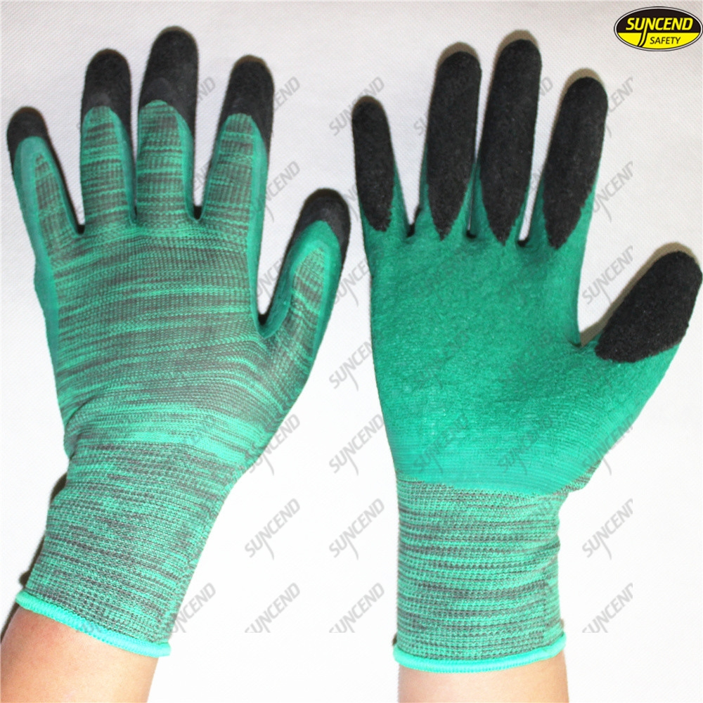 Polyester liner double color crinkle latex coated work gloves