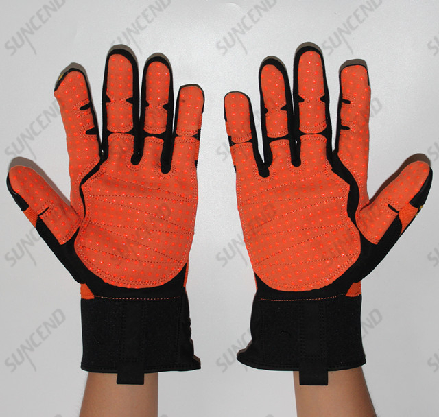 Anti Impact Flame Resistant Industrial Protective Mechanical Cow Leather Safety Work Gloves with TPR