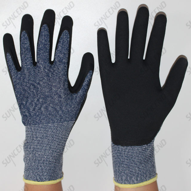 China Factory Best Seller High Elastic Wire Sandy Nitrile Work Gloves