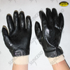 Jersey liner black latex coated work gloves with knit wrist
