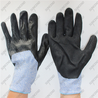 3/4 double coating black nitrile HPPE cut resistant gloves