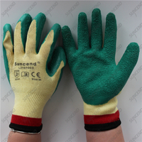 EN388 mechanical custom green latex coated work gloves
