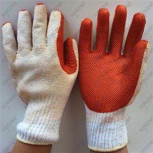 7 gauge cheap white cotton yellow rubber crayfish gloves for South Africa