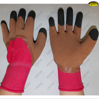 Natural latex coated finger double dipped gloves
