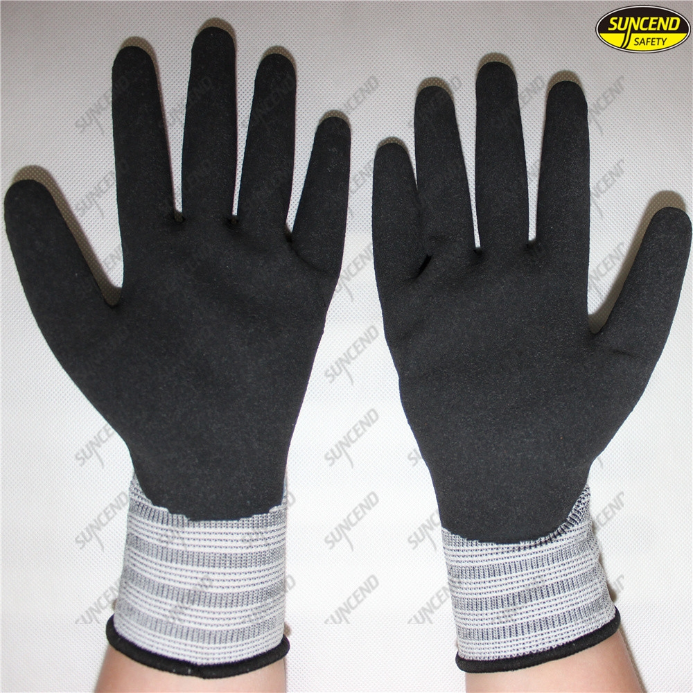 Sandy finished double latex coated safety work gloves