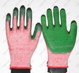 New Design HPPE Liner Best Grip Rubber Coated Work Gloves with Grip Textured