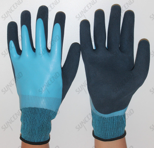 Blue Nitrile Fully Double Dipped Waterproof Safety Glove,Sandy Finish