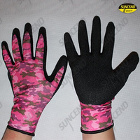 Colorful printed liner crinkle latex coated work gloves