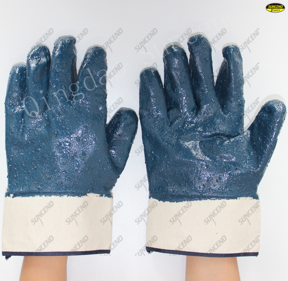 Safety cuff full coated rough blue nitrile oil resistant construction gloves