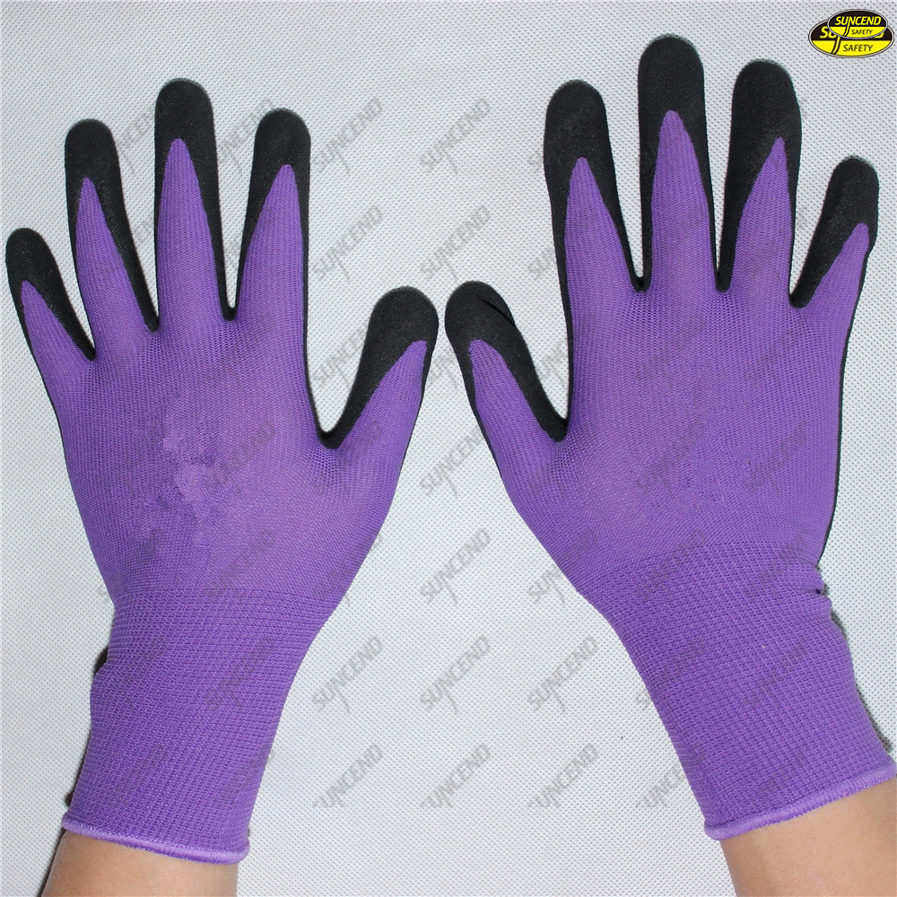 Sandy nitrile coated safety hand protective gloves