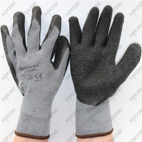 Firm grip crinkle half coated rubber palm grey latex heavy duty gloves