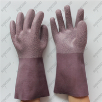 100% thick cotton liner micro sandblasting anti slip purple latex gloves
