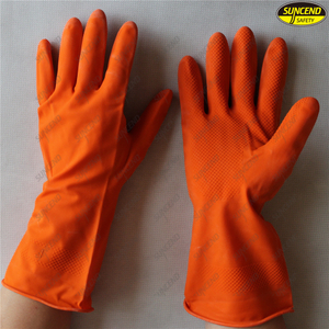 Long latex household glove for dish washing