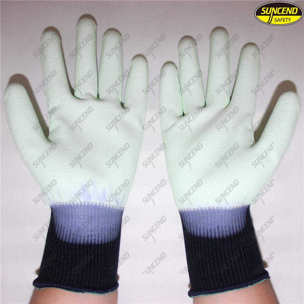 White PU coated nylon polyester safety hand work gloves