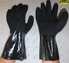 Oil resistant blue PVC double dipped sandy finished working glove