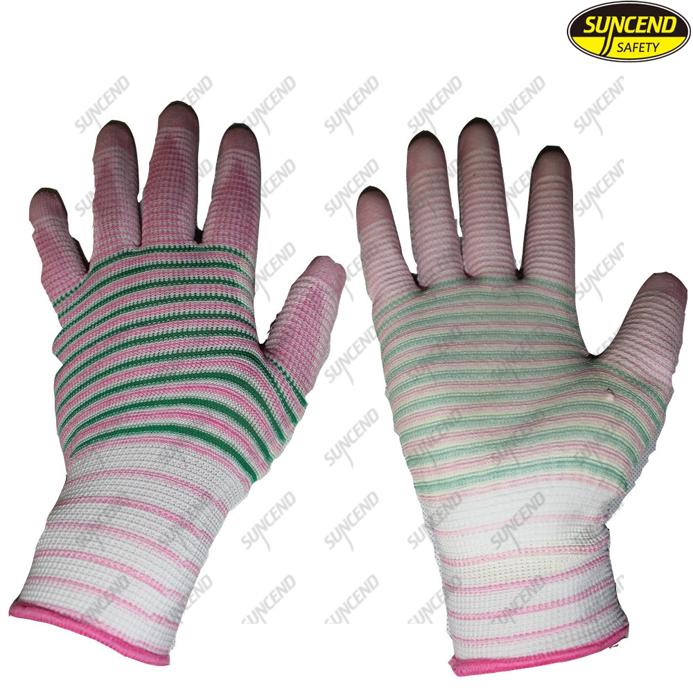 Flexible nylon knitted PU coated work gloves