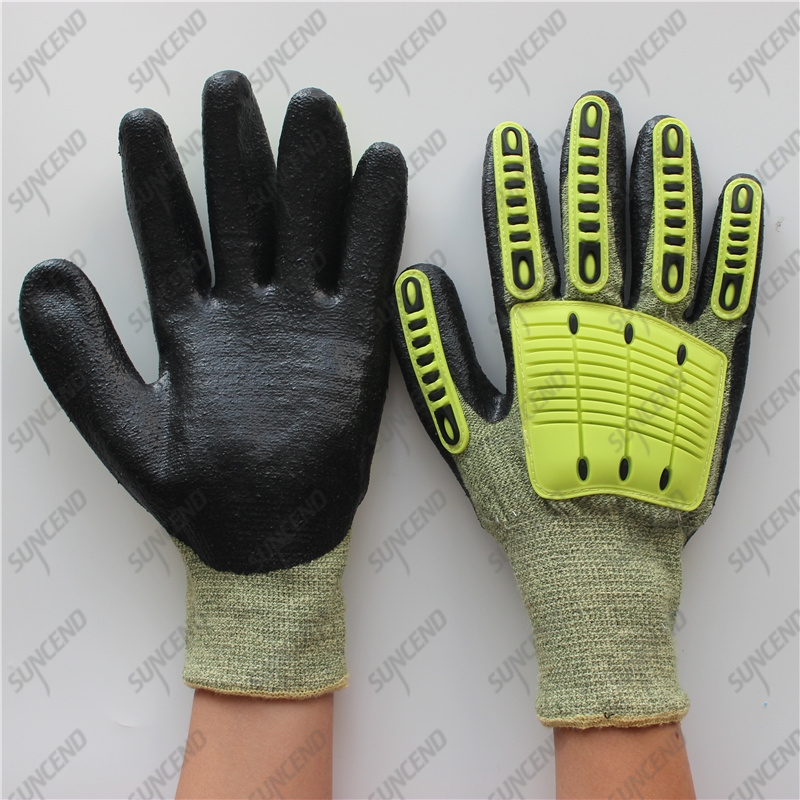 13 Gauge Cut Resistant Kevlar Micro Foam Nitrile Palm Anti Impact TPR Gloves