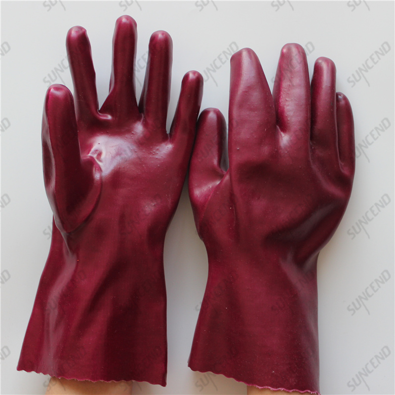 28cm interlock cotton open cuff smooth PVC full coated gloves