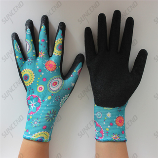 Colored Nylon Liner Palm Crinkle Latex Coated Garden Women Gloves