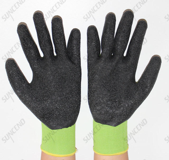 Suncend New Green Color 13 Gauge Polyester/nylon Seamless Knit Latex Crinkle Finish Gloves for Construction