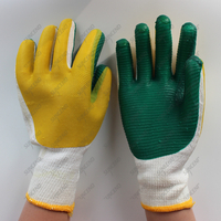 Natural Rubber Palm Coated Cotton Liner Safety Work Gloves