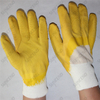 13 gauge polyester full coated yellow corrugated gripper latex gloves