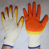 10G orange yellow bicolor latex coated work gloves for South America