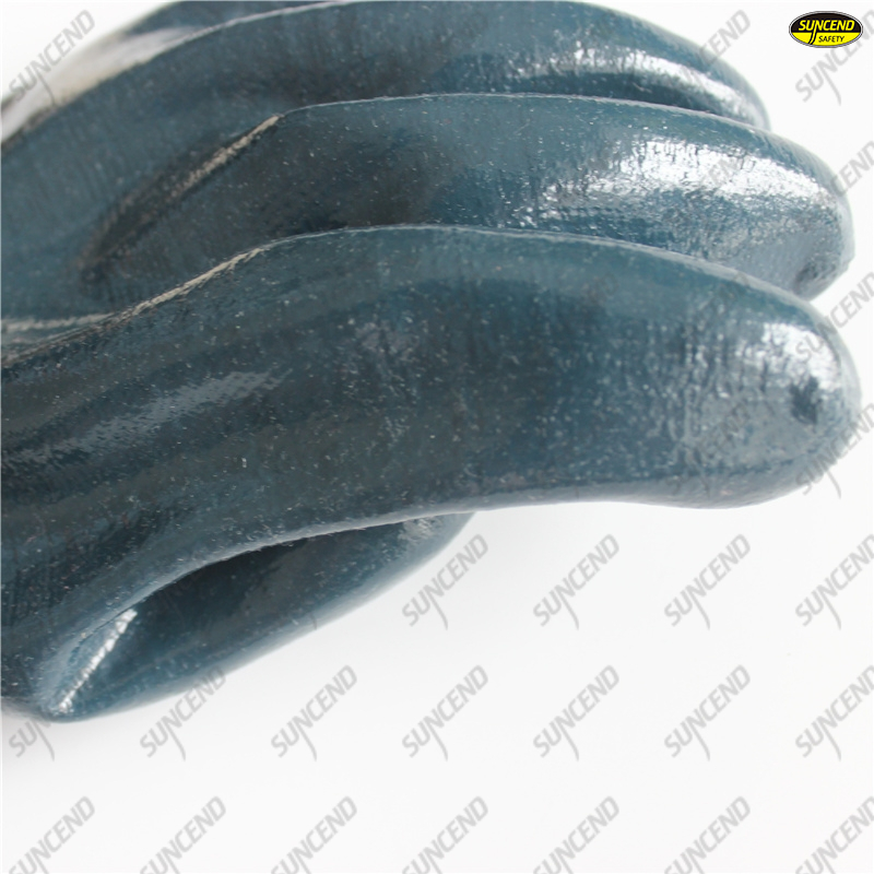 100% cotton liner waterproof blue nitrile long gloves gauntlets