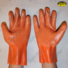 Orange latex fully dipped long cuff work gloves