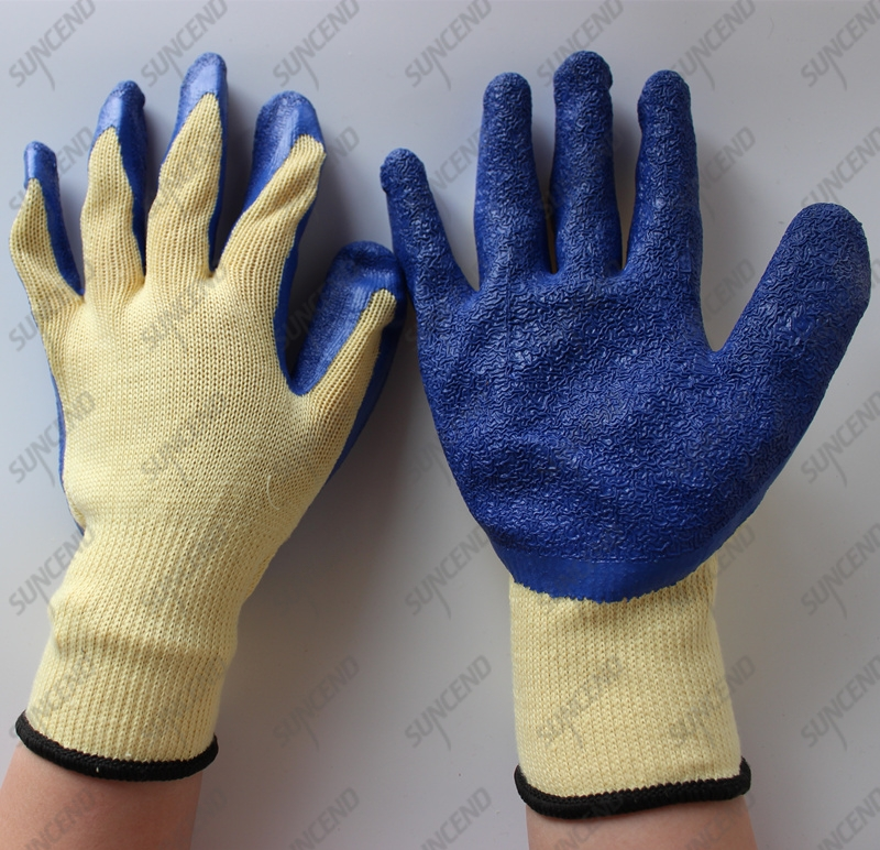 10 gauge polycotton guante crinkle dark blue latex gloves