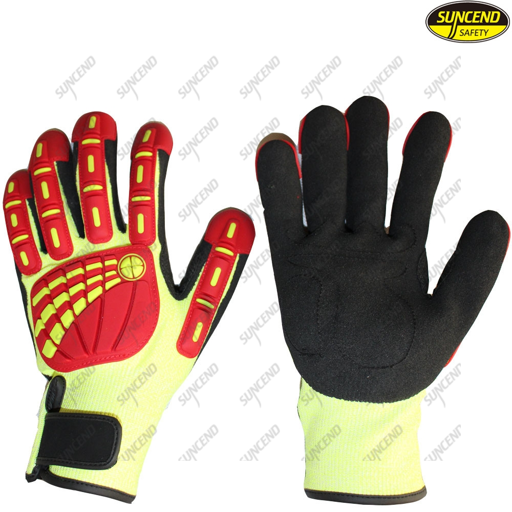 Level 5 Black Sandy Nitrile Coating Industrial Anti Cut Resistant Impact Gloves