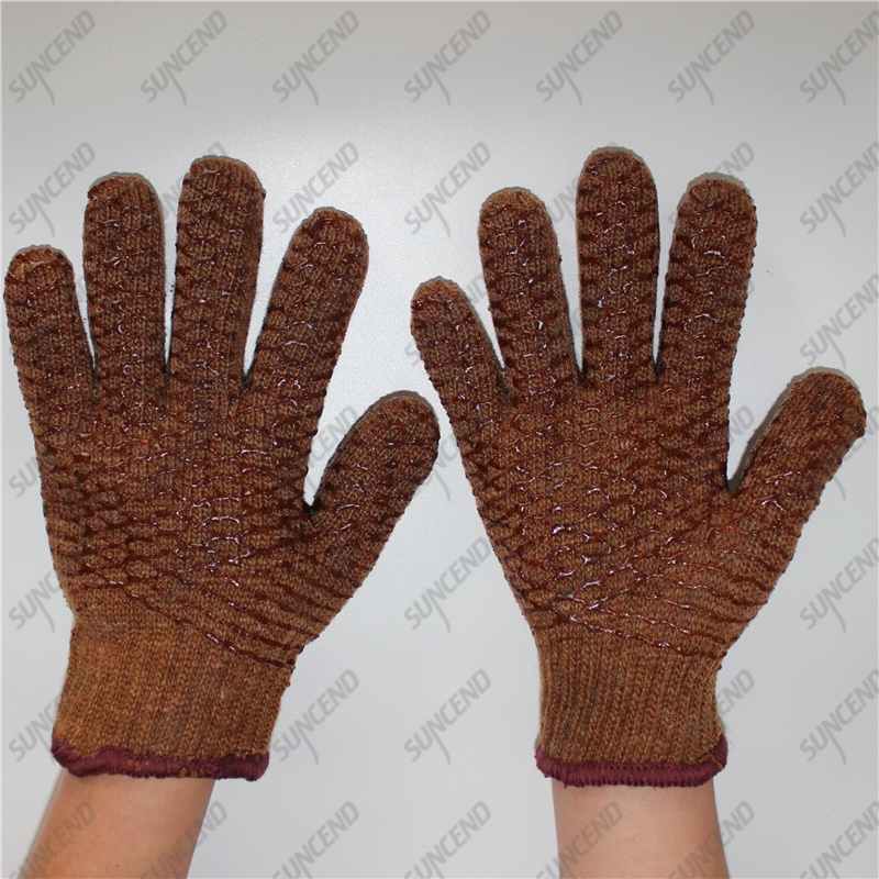 Warmly cotton with terry lining single palm diamond texture PVC coating gloves