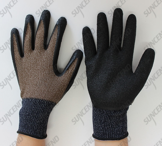 15 gauge nylon+spandex High quality latex coating gloves with breathable and com