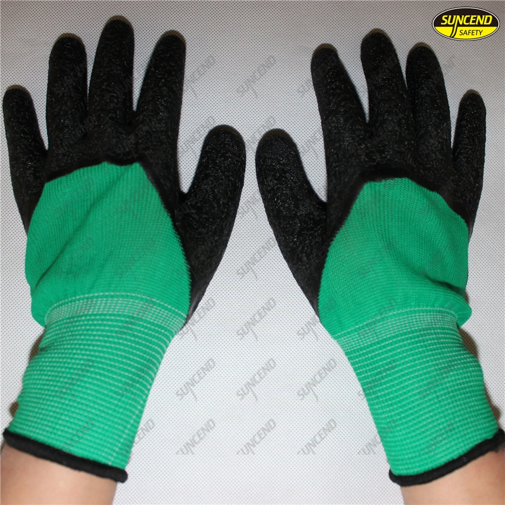 Mechanics safety work latex crinkle coated gloves