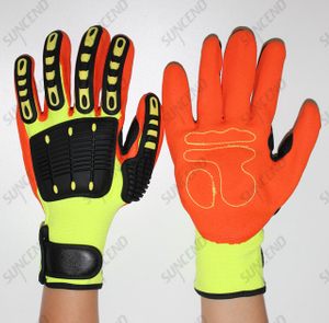Anti-impact Gripper Gloves TPR Knuckles, Reinforced Thumb Crotch, Hook & Loop Closure, Nitrile Palm, Breathable Work Glove