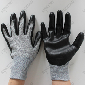 HPPE Liner Nitrile Coating Cut Resistant Safety Gloves