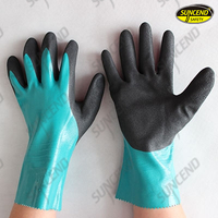 Green nitrile full dipped sandy palm work gloves gauntlet